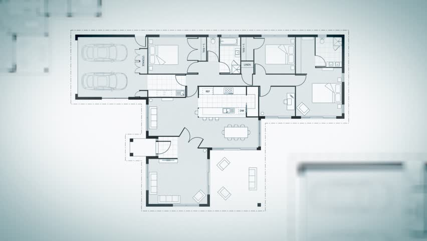 Loopable house plans animation. The camera moves and rotates around showing each room within the plans. | Shutterstock HD Video #1025441795