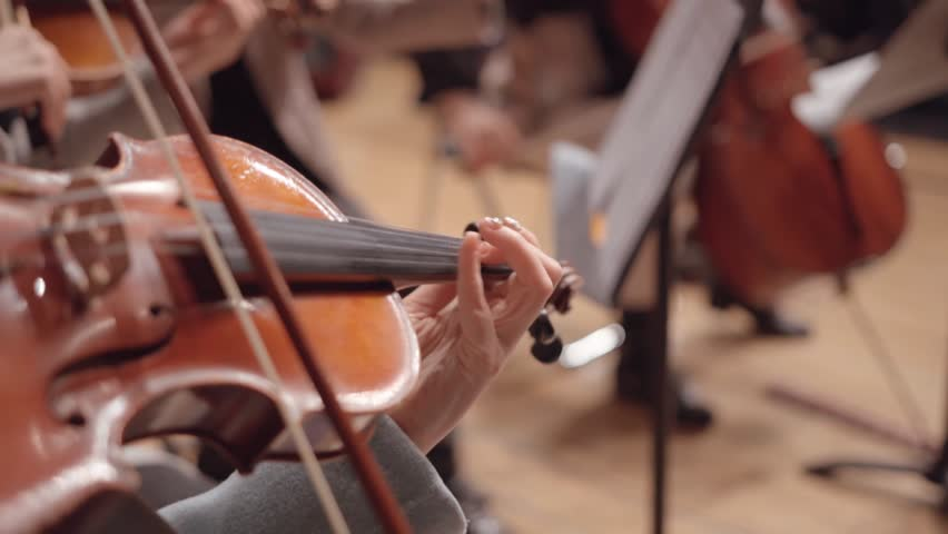 Close up of a musician playing violin on the symphony hall , slow motion | Shutterstock HD Video #1025441930