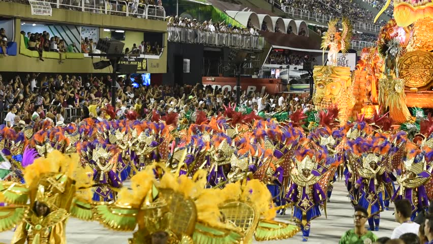 RIO DE JANEIRO, BRAZIl - MARCH 05, 2019: Participants in the Carnival from Samba school Mocidade Independente de Padre Miguel present their costumes during the Carnival in Rio de Janeiro (Brazil)