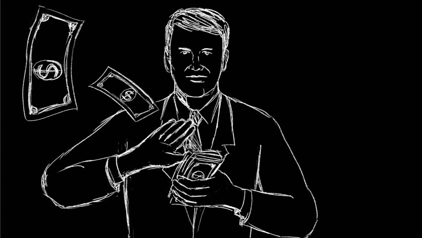 2d Animation motion graphics showing a drawing of a businessman making it rain and spreading money  on black, white and green screen in HD high definition. | Shutterstock HD Video #1025443067