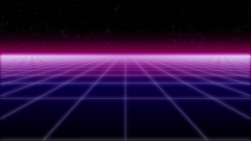 Synthwave wireframe net and stars 80s Retro Futurism Background 3d illustration render seamless loop