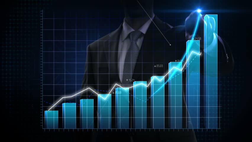 Businessman moves finger up, various animated Stock Market charts and bar graphs. Increase blue line. 4k animation. #1025454299