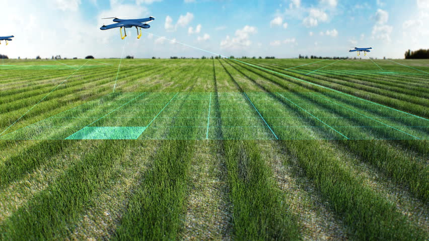 Drone scanning farm, Analyze the field, glow smart agriculture, 4K size movie, internet of things. 4th industrial revolution. Royalty-Free Stock Footage #1025454338