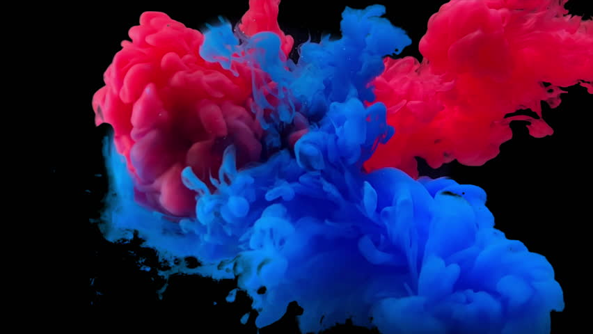Colorful paint drops mixing in water slow motion. Smooth ink swirling and splashing from above underwater. Ink cloud isolated on black background with alpha. Colored abstract smoke explosion   | Shutterstock HD Video #1025479619