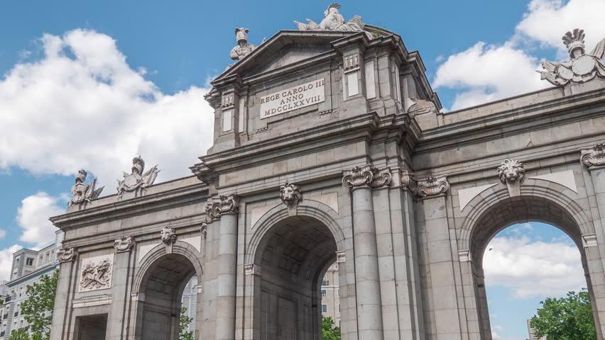Hyperlapse Puerta de Alcala, Madrid, Spain Royalty-Free Stock Footage #1025479919