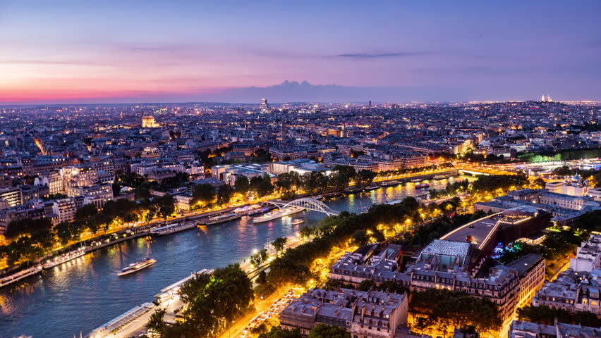 Timelapse, cityscape of sunset time and the boats crossing Seine river, Paris, France   Shutterstock HD Video #1025480525