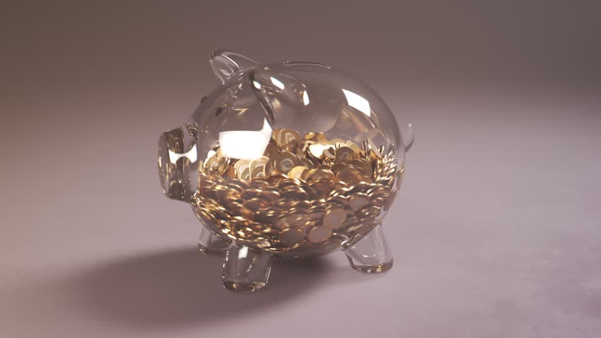 Cute glass piggy bank stuffed with huge amounts of coins. Money fast grows inside. Moneybox is changing into a colorfull present box. Symbol of savings, planning and a dream come true.  Royalty-Free Stock Footage #1025481083