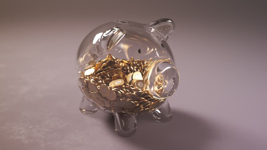 Cute glass piggy bank stuffed with huge amounts of coins. Money fast grows inside the pig - a symbol of wealth, frugality and efficient invest planning. Perfect for business related purposes.