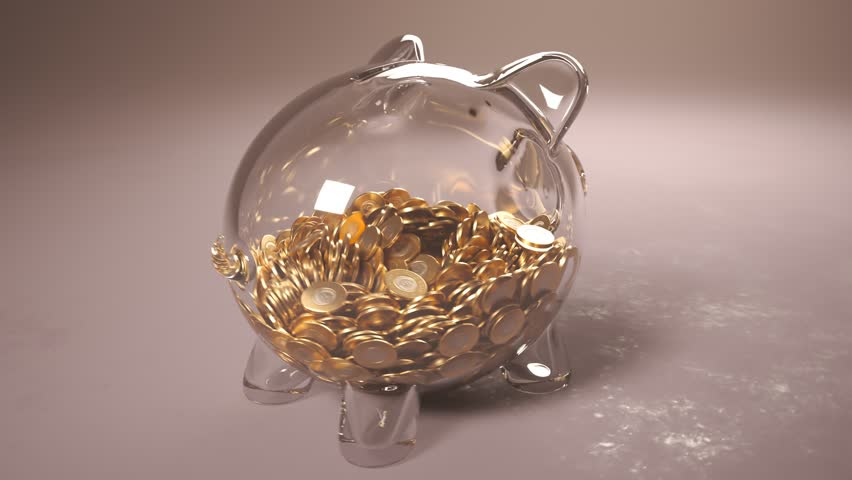 Cute glass piggy bank stuffed with huge amounts of coins. Money fast grows inside the pig - a symbol of wealth, frugality and efficient invest planning. Perfect for business related purposes.  Royalty-Free Stock Footage #1025481572