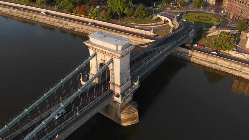 Aerial view to Chain bridge and the city, Budapest, Hungary | Shutterstock HD Video #1025483036