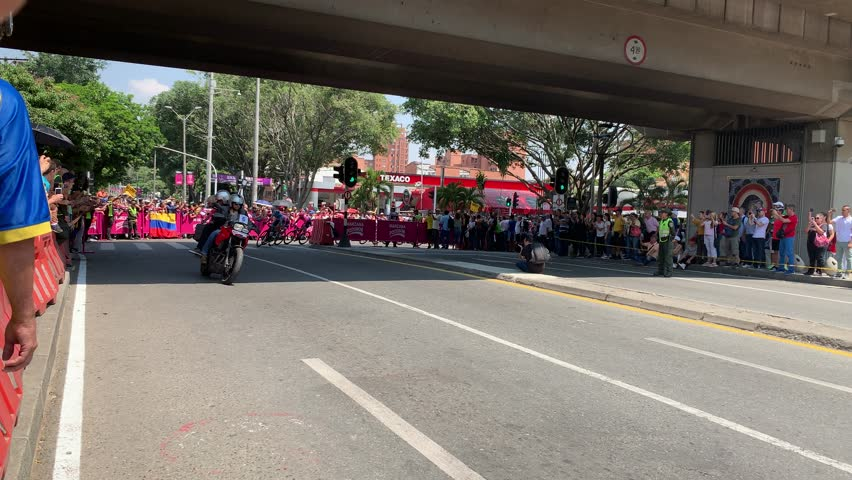 MEDELLIN, ANTIOQUIA - COLOMBIA - FEBRUARY 15, 2019: Tour Colombia 2019 The peloton including Chriss Froome, Rigoberto Uran and Nairo Quintana