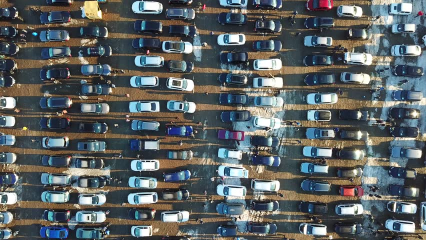 Top aerial view of many cars on sale car dealer market. | Shutterstock HD Video #1025499449