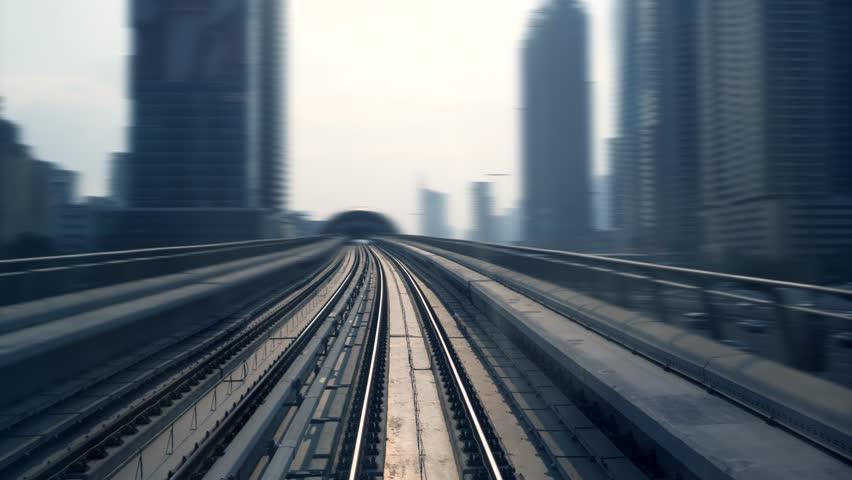 Railway Train View Driving Through Modern City Skyline District