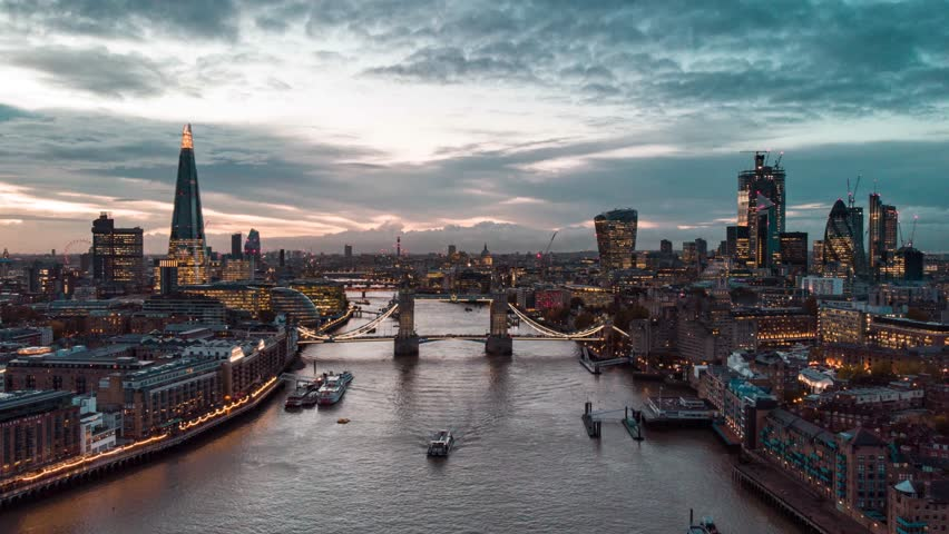 London, United Kingdom-11.05.2018: Aerial Drone Helicopter Tower Bridge London City The Shard Skyline Thames River Hyperlapse Time Lapse