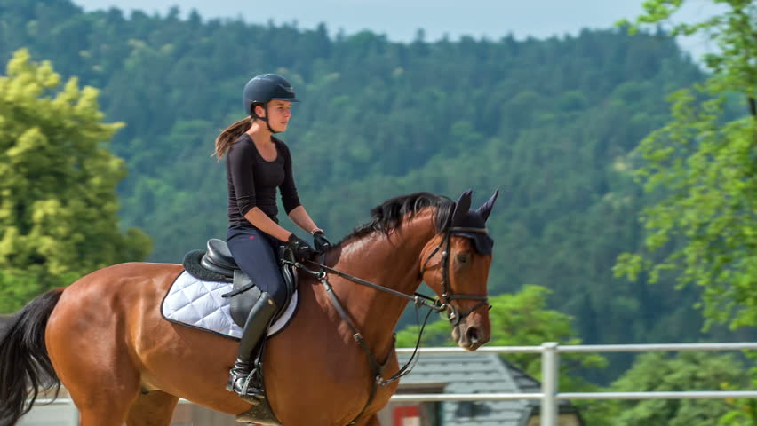 A young woman during her riding session. She is also practising jumping over barriers.   Shutterstock HD Video #1025537528