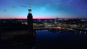 Aerial Sweden Stockholm June 2018 Night 15mm Wide Angle 4K Inspire 2 ProresAerial video of downtown Stockholm in Sweden at night with a wide angle lens.