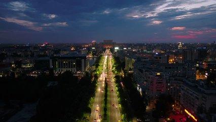 Aerial Romania Bucharest June 2018 Night 30mm 4K. Aerial video of downtown Bucharest in Romania at night