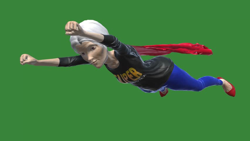 3d character Super Grandma 4K Animation Green Background #1025567015