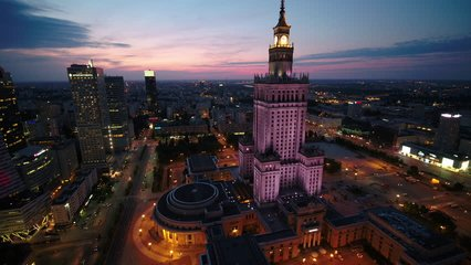Aerial Poland Warsaw June 2018 Night 30mm 4K. Aerial video of downtown Warsaw in Poland at night