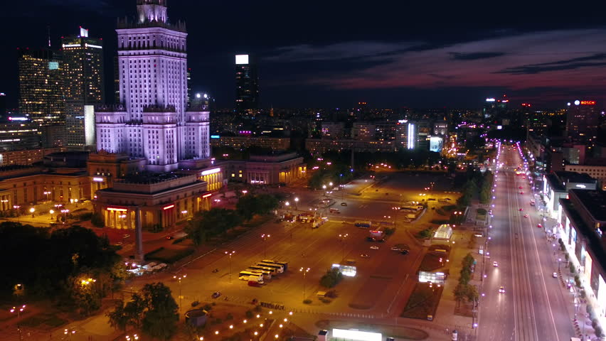 Aerial Poland Warsaw June 2018 Night 30mm 4K. Aerial video of downtown Warsaw in Poland at night | Shutterstock HD Video #1025567201