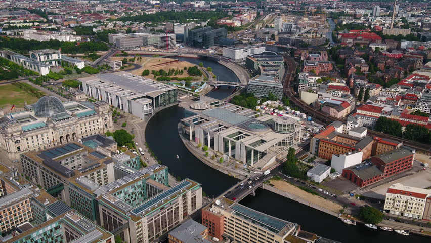 Aerial Germany Berlin June 2018 Sunny Day 30mm 4K Inspire 2 Prores  Aerial video of downtown Berlin in Germany on a sunny day.