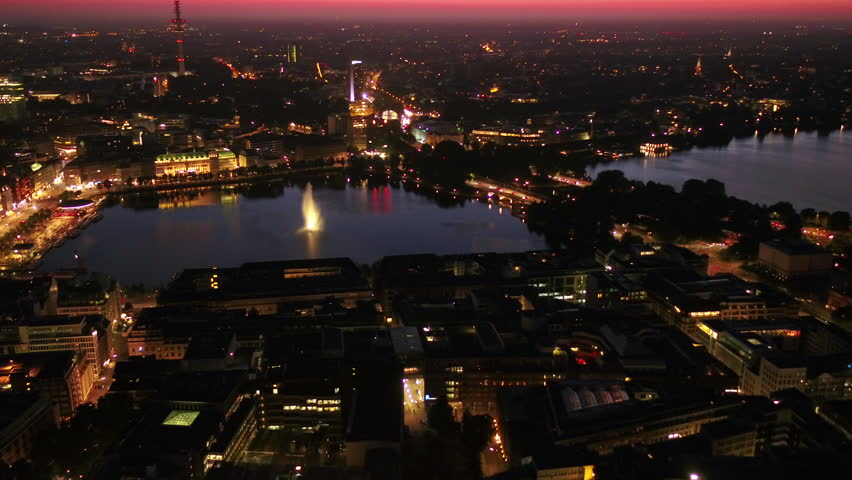 Aerial Germany Hamburg June 2018 Night 30mm 4K Inspire 2 Prores  Aerial video of downtown Hamburg in Germany at night.