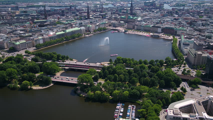 Aerial Germany Hamburg June 2018 Sunny Day 30mm 4K Inspire 2 Prores  Aerial video of downtown Hamburg in Germany on a sunny day.