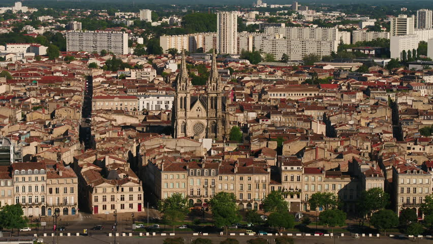 Aerial France Bordeaux June 2018 Sunny Day 90mm Zoom 4K Inspire 2 Prores  Aerial video of downtown Bordeaux in France on a sunny day with a zoom lens. | Shutterstock HD Video #1025573516
