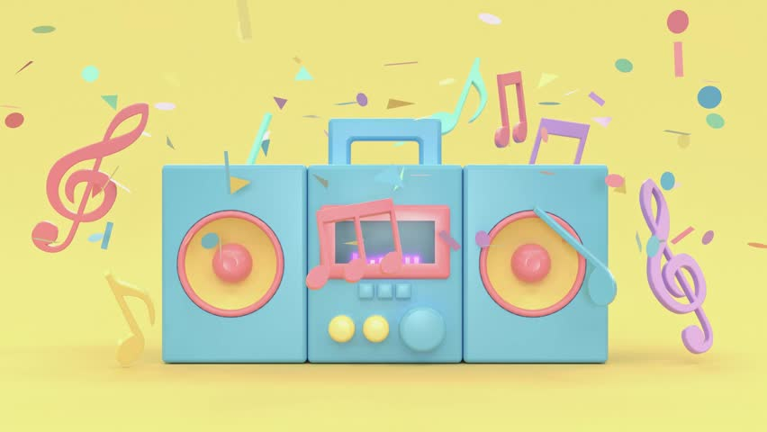 3d rendering motion radio cartoon style music technology concept pastel colorful scene | Shutterstock HD Video #1025599880