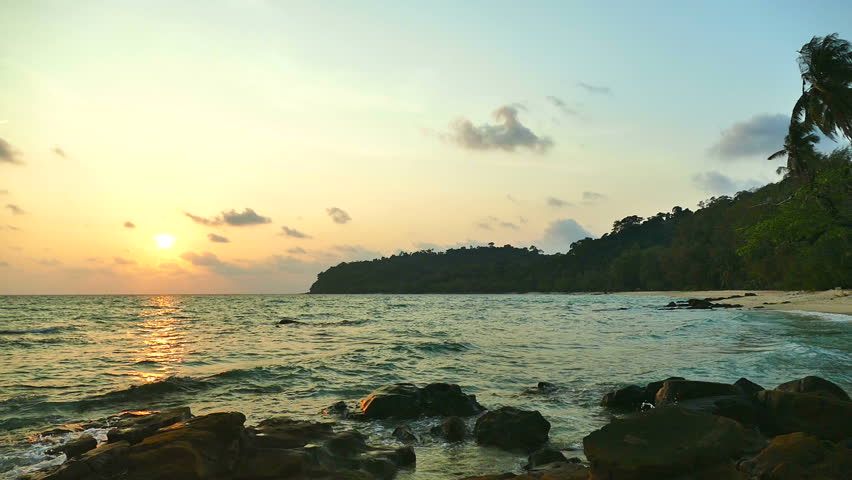 Beautiful tropical beach and sea landscape at sunset time  | Shutterstock HD Video #1025601038