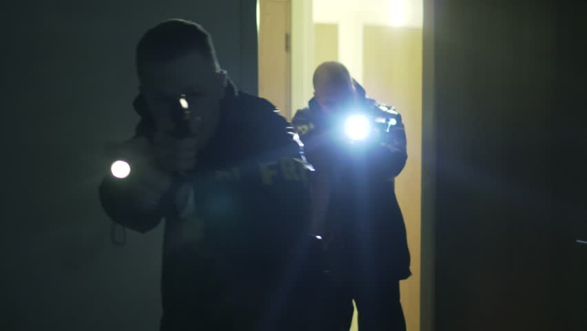 Cinematic Police Officers Stealth Raid Maneuver Armed With Guns At Night, 4K.