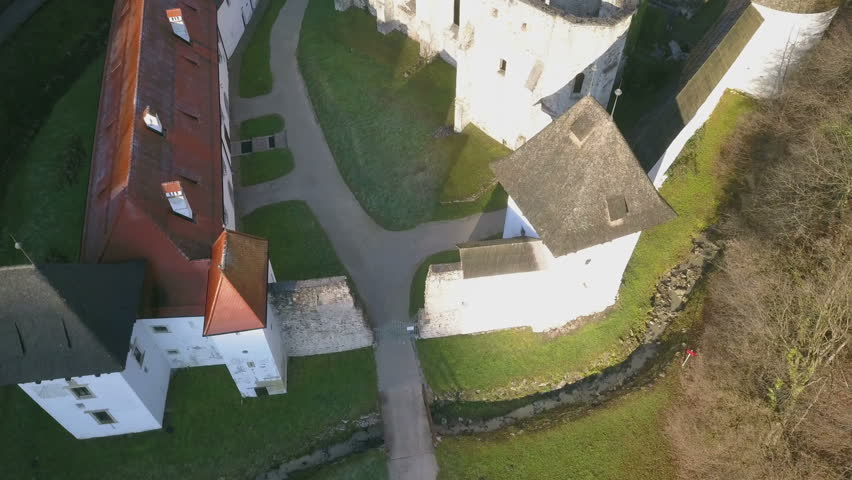 LOCE, SLOVENIA, 2019.01.25: Aerial: Ancient ruins of Zice monastery. Filming remainings of ancient French monastery on beautiful sunny winter morning. | Shutterstock HD Video #1025614328