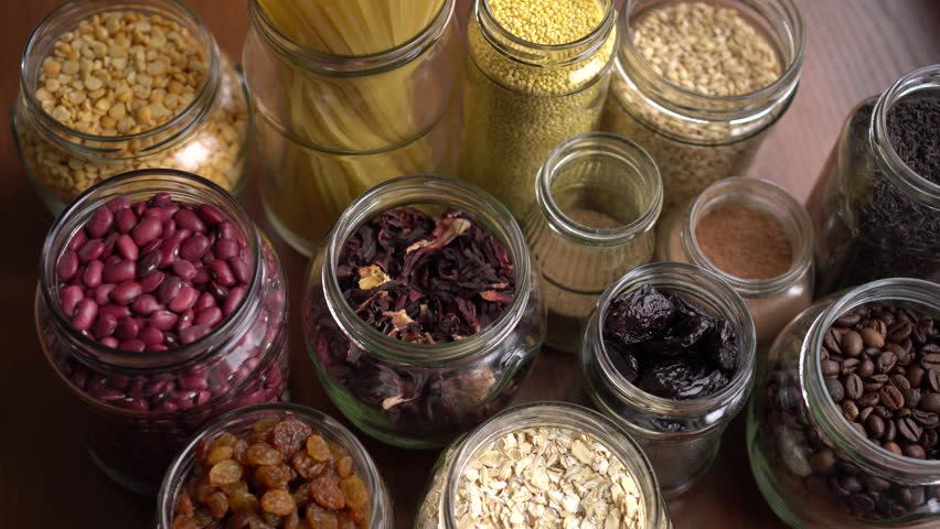 Grocery stock, food reserve. Zero Waste Kitchen. Plastic Free Pantry. No plastic. Eco family. Bulk shopping with containers and glass jars