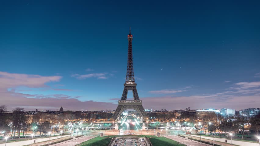 Timelapse of the Eiffel Tower in Paris with a Sunrise | Shutterstock HD Video #1025627072