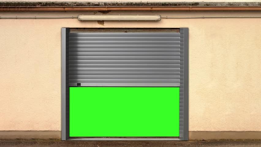Metal Garage Door Opening with Green Screen effect, Elevator with Green Screen effect, warehouse Green Screen effect, Green Screen effect 4k animation