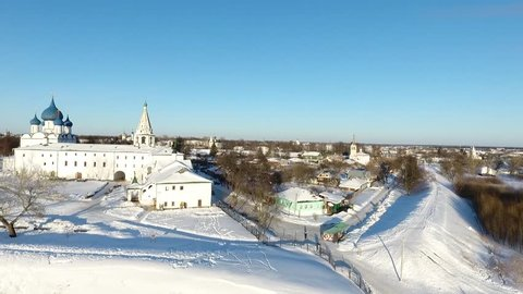 Russian winter in Suzdal. Panoramic view of Suzdal from the drone.