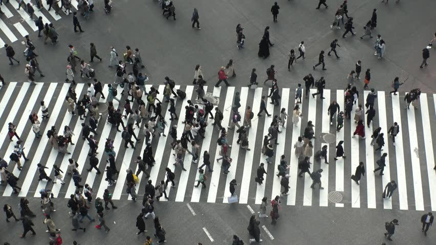 SHIBUYA,  TOKYO,  JAPAN - CIRCA MARCH 2019 : Aerial view around SHIBUYA scramble crossing.  Busy crowded area in Tokyo.  Wide view slow motion shot. | Shutterstock HD Video #1025659025
