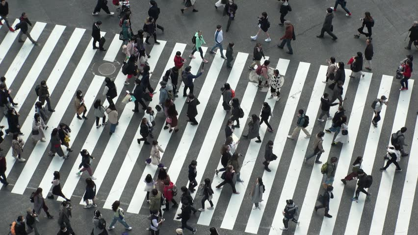 SHIBUYA,  TOKYO,  JAPAN - CIRCA MARCH 2019 : Aerial view around SHIBUYA scramble crossing.  Close up shot of pedestrians crossing.  Slow motion shot. | Shutterstock HD Video #1025676485