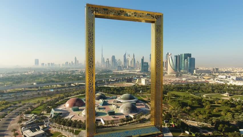 Dubai, UAE - January 11, 2018: Dubai Frame Aerial View