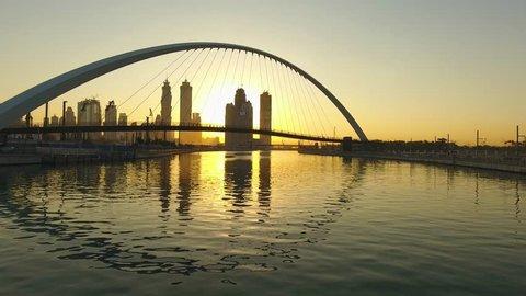 Dubai Water Canal Hanging Bridge Aerial View