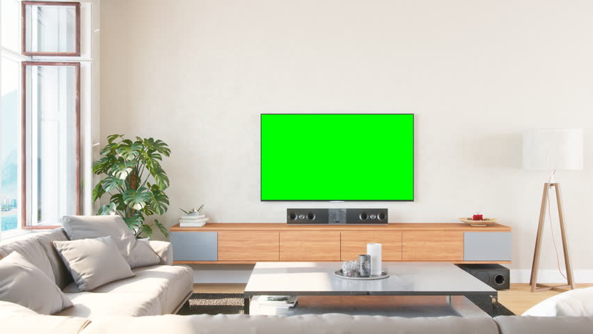 Airy And Bright Living Room With Home Entertainment System