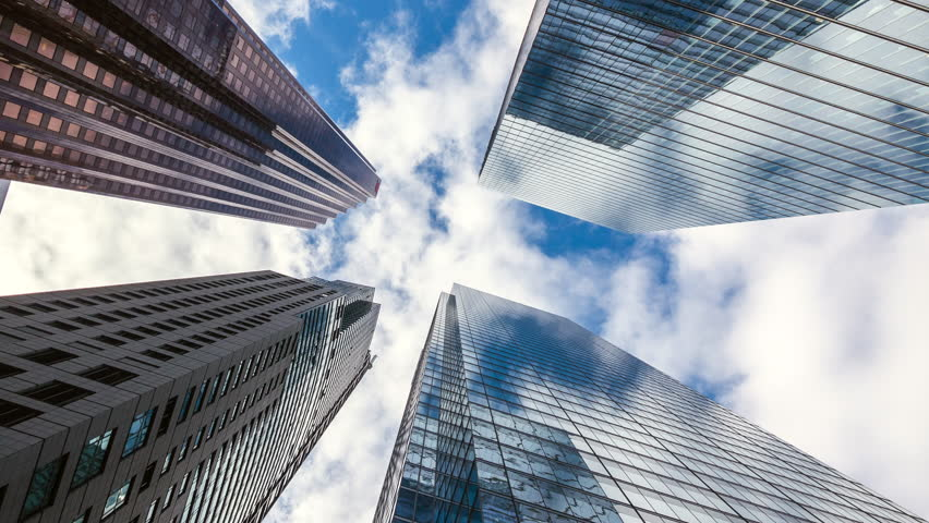 Downtown Toronto time lapse view, looking up at office building architecture in the financial district of Toronto in Ontario, Canada, zoom out. | Shutterstock HD Video #1025707679