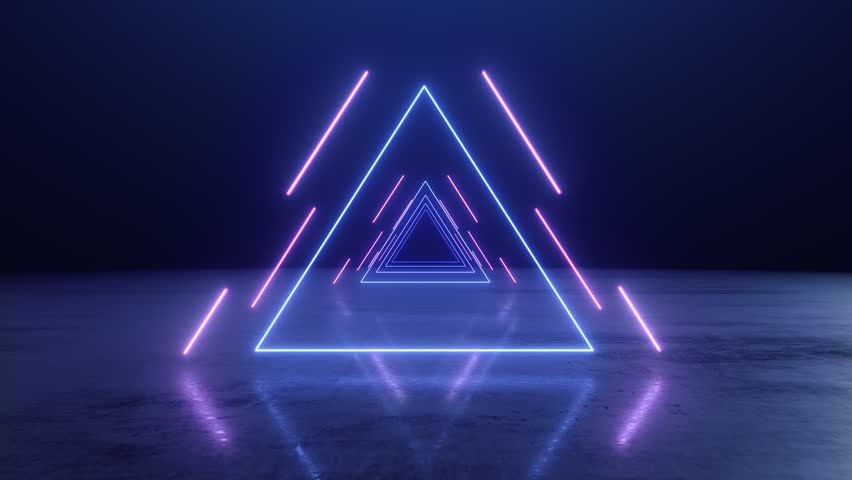 VJ abstract Neon triangle tunnel   Shutterstock HD Video #1025720855