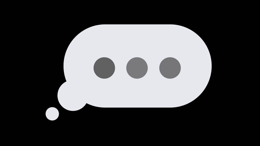 A simple element of a thought bubble, email, or text message popping up, with typing or thinking dots slowly pulsing inside of it, reminiscent of someone taking a long time to type a message | Shutterstock HD Video #1025732237