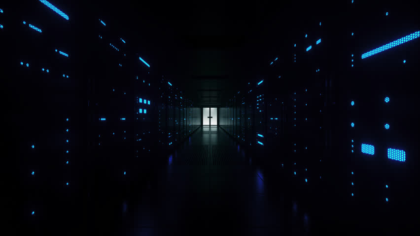 Racks of futuristic network and data servers with flickering lights and mesh covers in a server room of a data center. Forward Dolly Shot, 4K High Quality Animation | Shutterstock HD Video #1025735348
