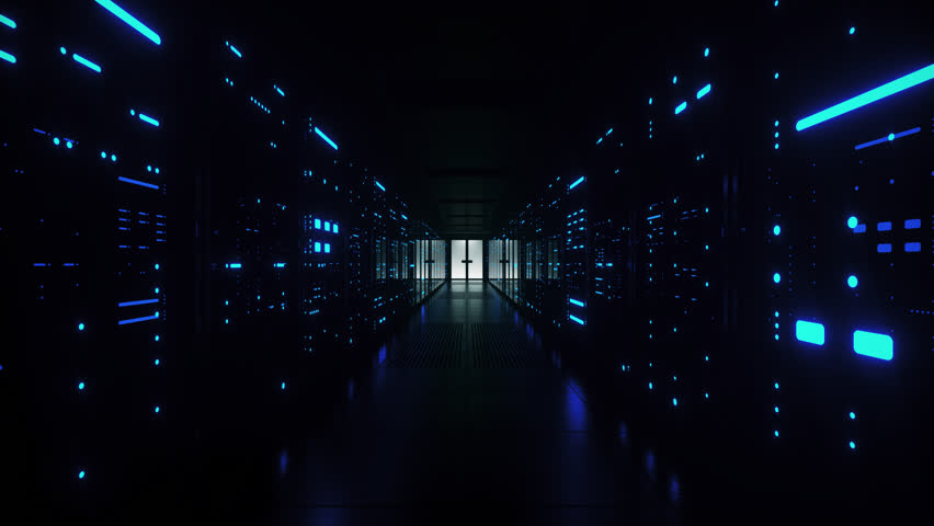 Network and data servers behind glass panels in a server room of a data center or ISP with flickering lights. Forward Dolly Shot, 4K High Quality Animation