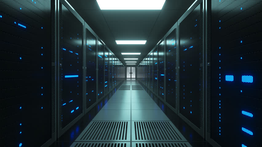 Racks of futuristic network and data servers with mesh covers in a server room of a data center. Forward Dolly Shot, 4K High Quality Animation Royalty-Free Stock Footage #1025735360