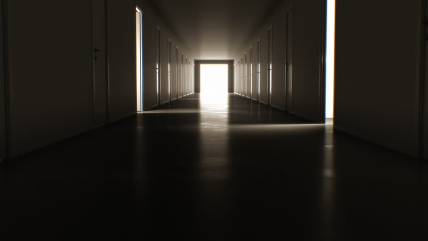 Moving Through the Dark Corridor with Many Opening and Closing Doors to the Bright White Exit. Business and Technology Concept. 4k Ultra HD 3840x2160.