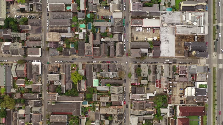 Aerial High Overhead Downward View of French Quarter House New Orleans