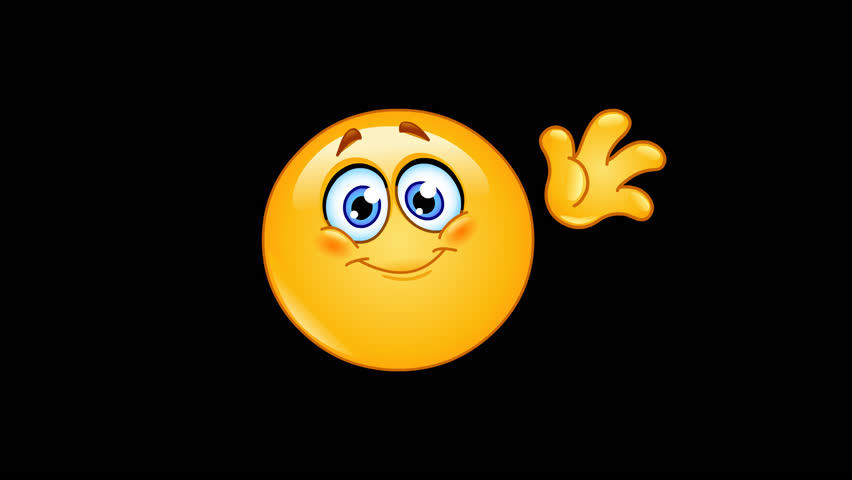 Animation of an emoticon waving hello including alpha channel